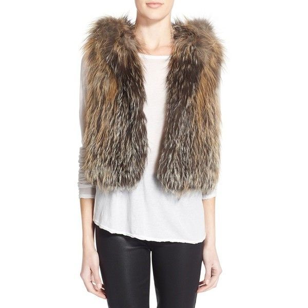 Tasha Tarno Knit Genuine Cross Fox Fur Hooded Vest ($1,560) ❤ liked on Polyvore featuring outerwear, vests, natural, hooded vest, knit vest, vest waistcoat, brown waistcoat and brown vest