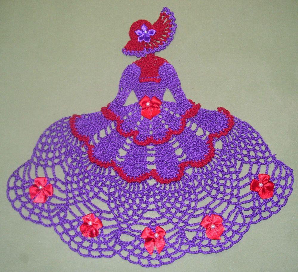 New Hand Crocheted Red Hat Society Crinoline Lady Doily AFATC ...