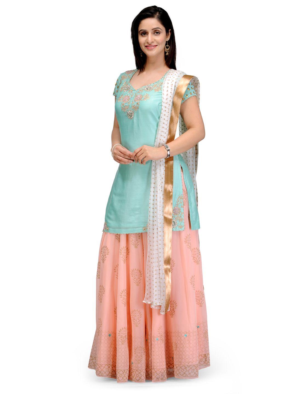 13f47a1257 Shop Light Green Straight Silk Chanderi Suit Set online at Biba.in -  SKD4386LGRN