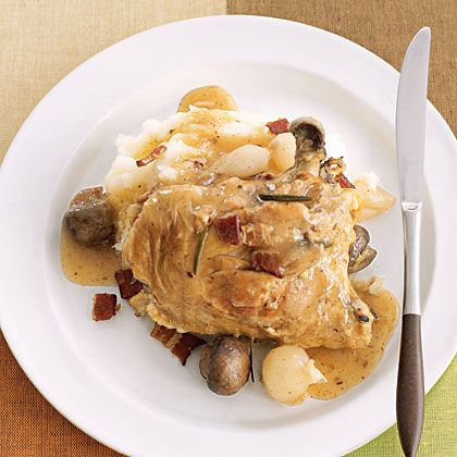 Chicken with Bacon, Mushrooms, and Onions -                              This slow-cooker chicken dish is the country version of the fussier coq au vin. Serve it with mashed potatoes.