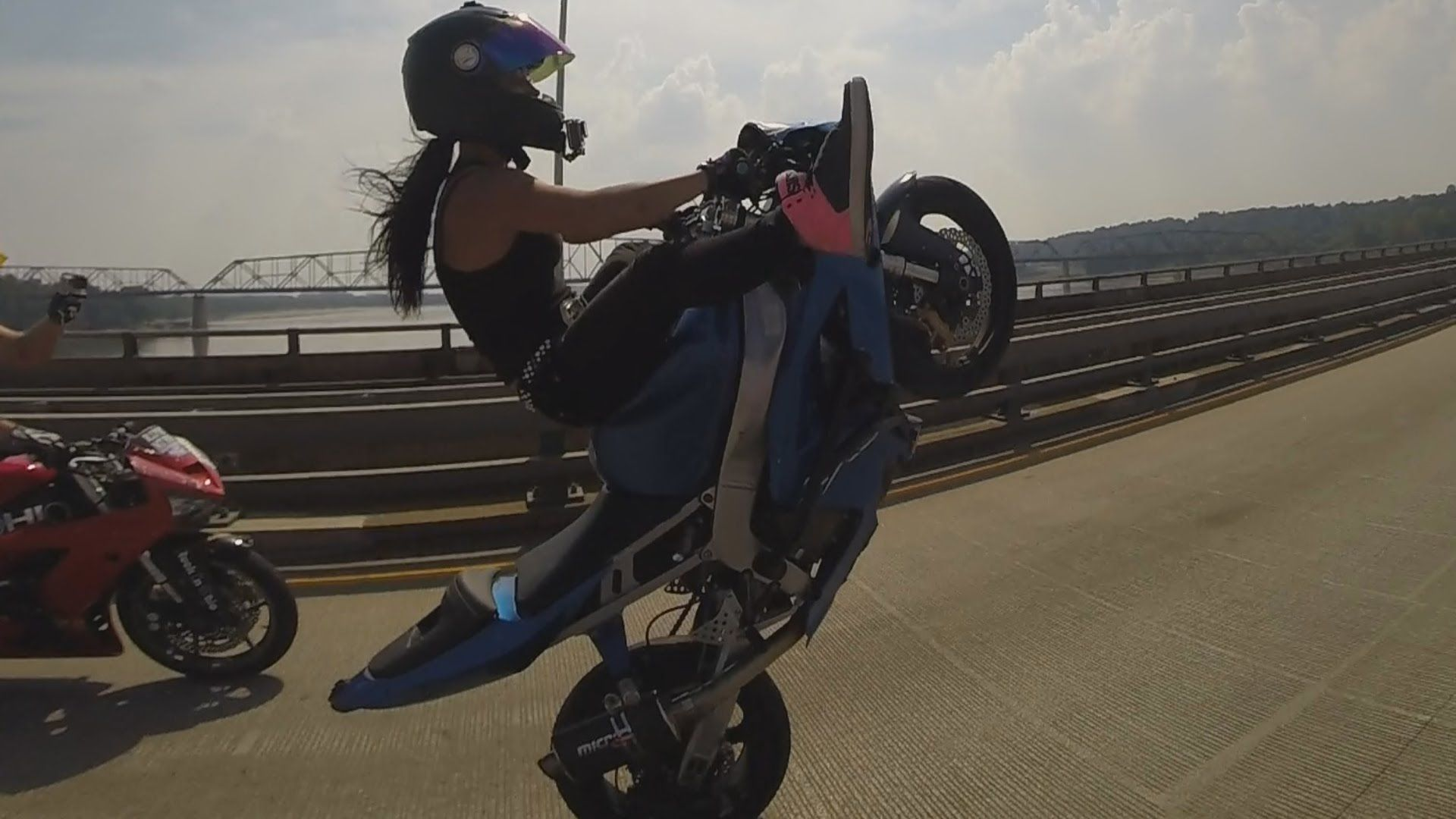 Motorcycle Stunts Beautiful Girl Riding Wheelies Long Highway