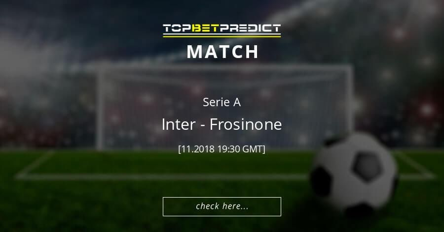 Inter Vs Frosinone 24 November 2018 The Best Football Predictions Odds Comparison And Team Statistics For Th Football Predictions Soccer Predictions Charleroi