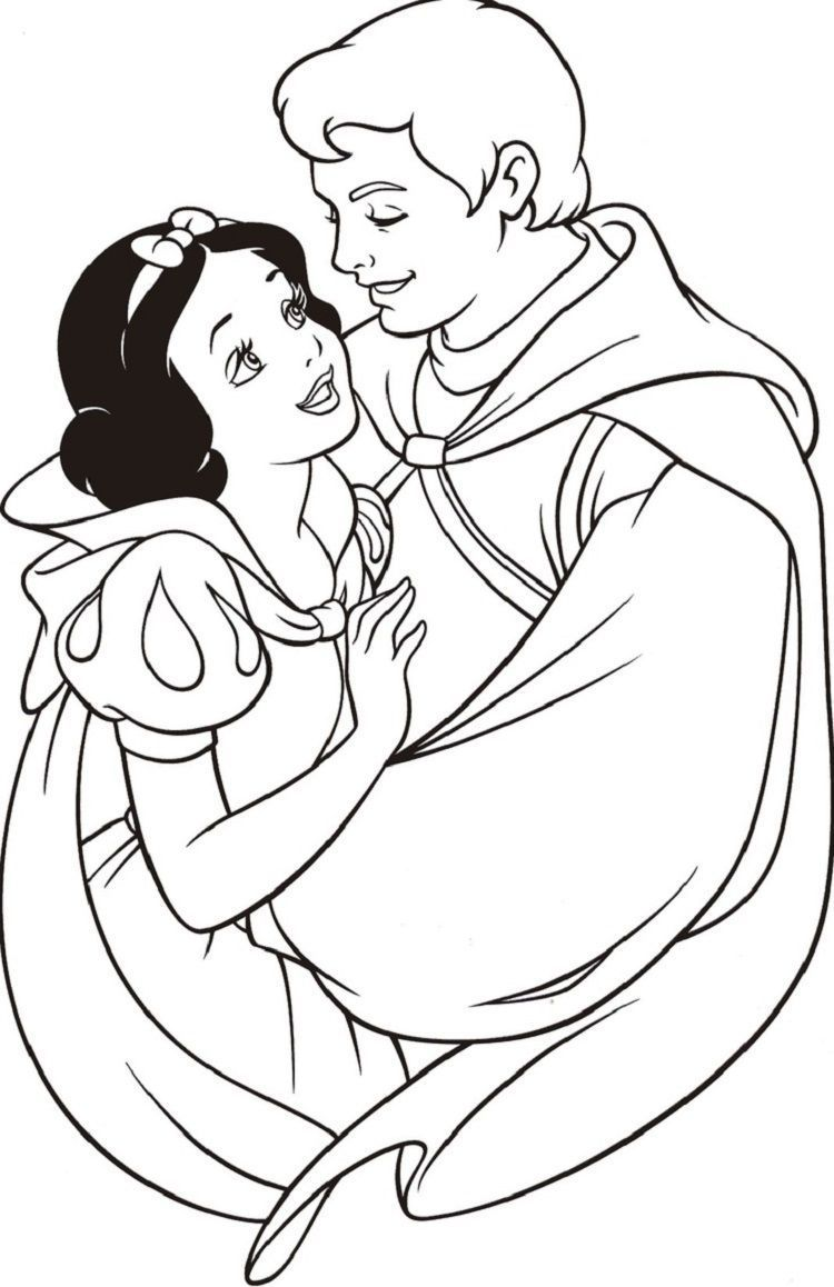 Snow White And Prince Charming Coloring Pages Princess Coloring