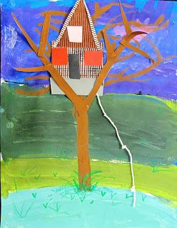 3rd - Tree house - students learned about the Canadian artist, Emily Carr before painting their sky. They used different shades of green for their Foreground, Middle Ground and Background.  Students looked at artwork with trees by several artists. Each artist expressed the tree form in a different way. They learned to paint trees, then constructed a special tree house.