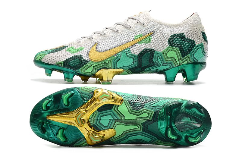 New Mbappe Nike Mercurial Vapor Xiii Elite Acc Fg Grey Gold Green In 2020 Football Boots Soccer Cleats Nike Nike