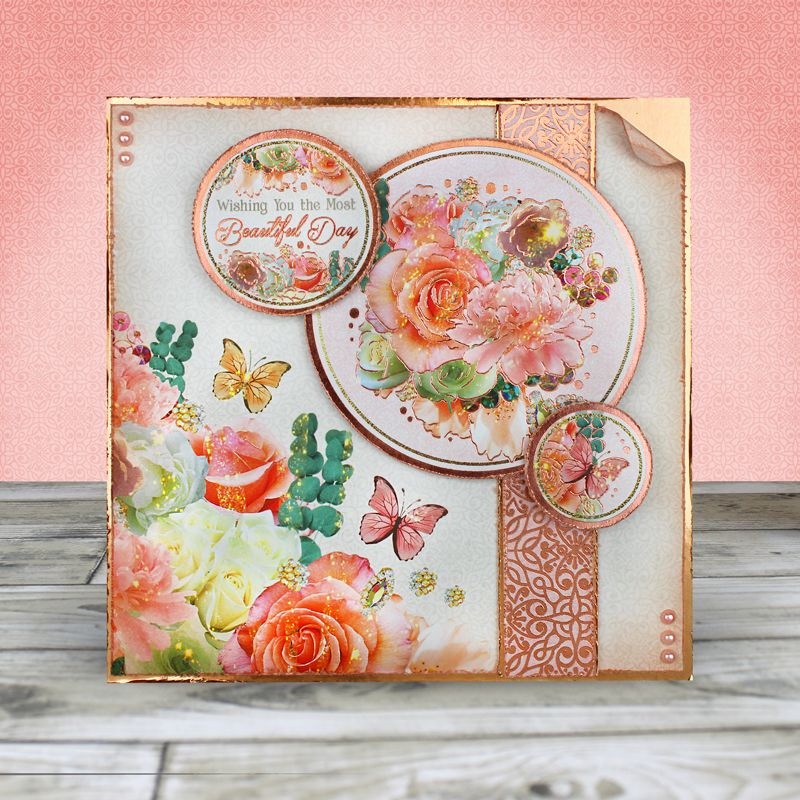 Card Created Using Hunkydory Crafts Rose Gold Moments Always