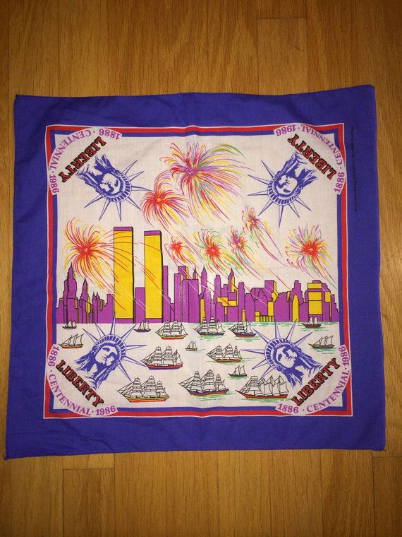 Statue of Liberty Centennial 1886-1986 Bandana on Etsy, $12.00