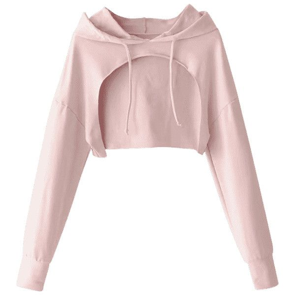9e0ebacd5ded07 Cape Drop Shoulder Crop Hoodie Light Pink ( 17) ❤ liked on Polyvore  featuring tops