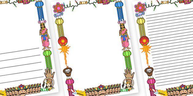 page border border diwali religion hindu hanoman rangoli sita ravana pooja thali rama lakshmi golden deer diva lamp sweets new year