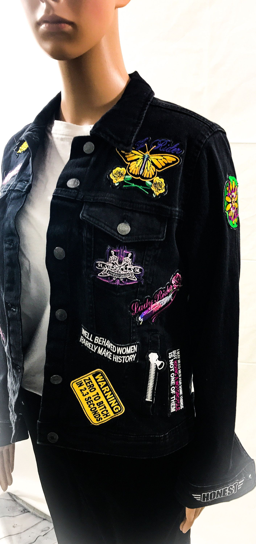 Rocker Jacket Custom Denim Jacket Biker Jacket Upcycled