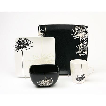 Garden 16-Piece Dinnerware Set, Black and White