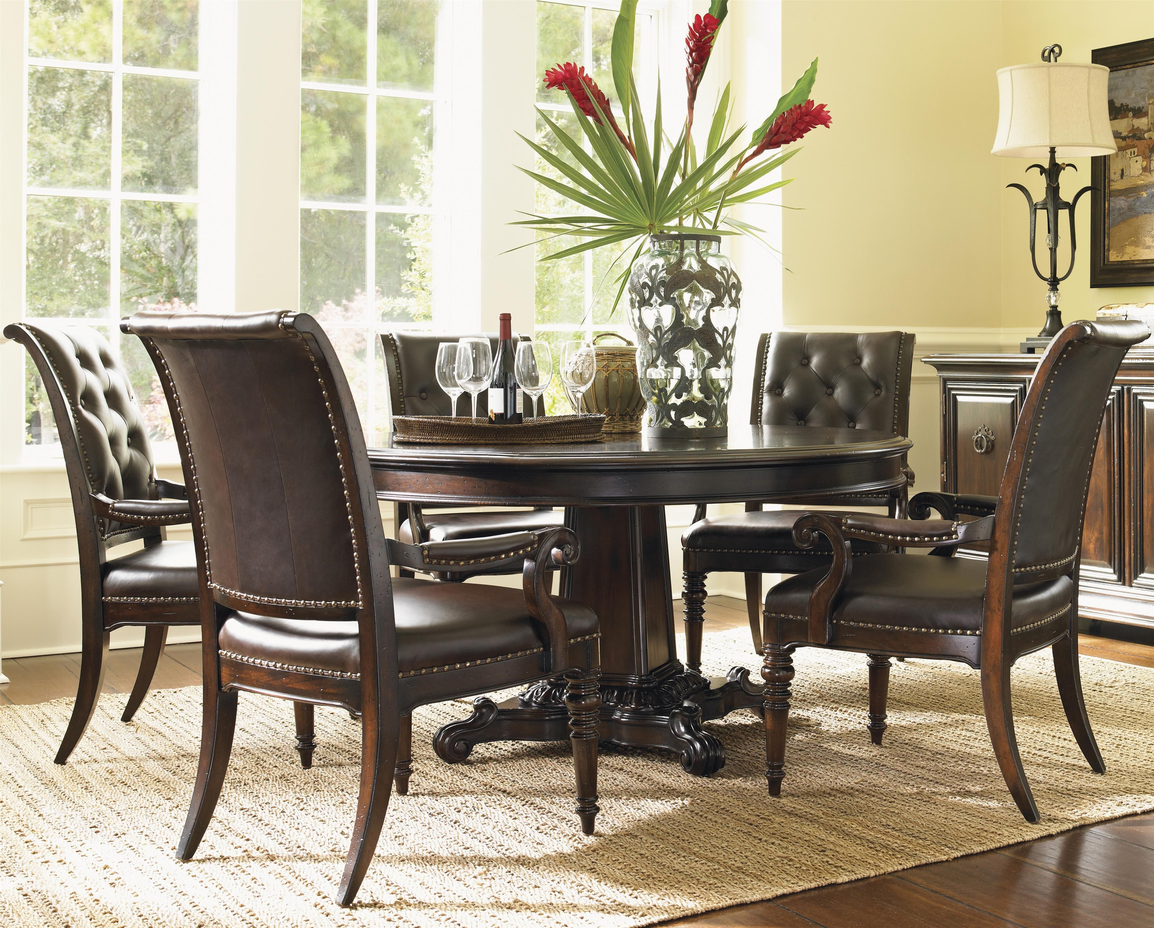 Tommy Bahama Home Island Traditions Six Piece Dining Set With Isleworth Table And Hastings A Round Dining Table Sets Dining Room Design Round Dining Room Table
