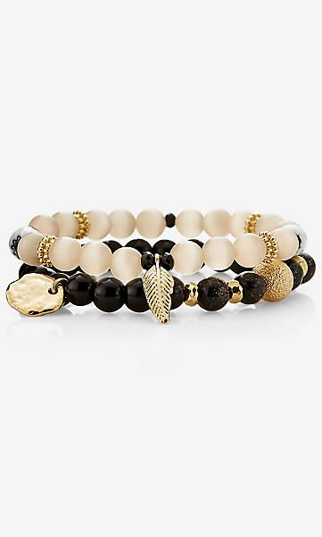 stretch bead bracelet with leaf charms
