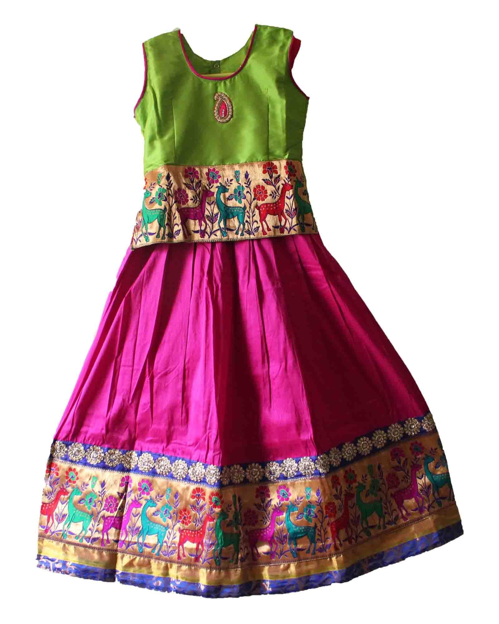 0821c6bd2 Gorgeous traditional pattu pavadai / lehenga for kids / girls of 9 years -  Free shipping