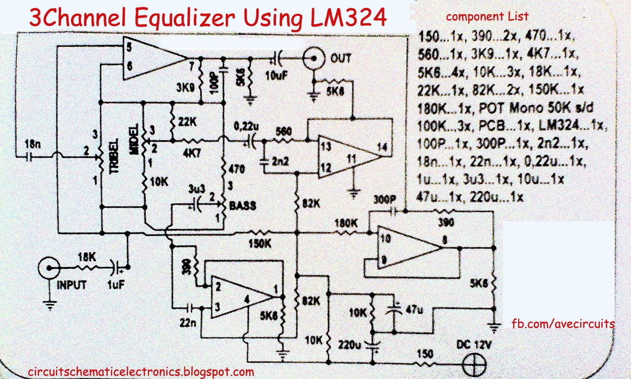 3 Channel Equalizer Using LM324 circuit diagram