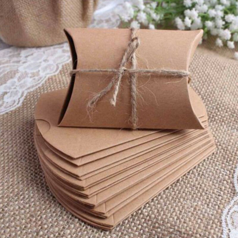 100 PCS Kraft Paper Pillow Box for Wedding Party Favor Gifts with 100 PCS Jute Twine