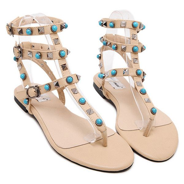 Faux Turquoise Rivet Flat Heel Sandals ($99) ❤ liked on Polyvore featuring shoes, sandals, man made shoes, turquoise sandals, synthetic shoes, heeled sandals and faux shoes