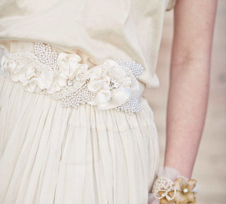 Wedding Dress Sash With Satin Ribbon And Vintage Pearl Leaves Wedding Belts Sashes Ribbons