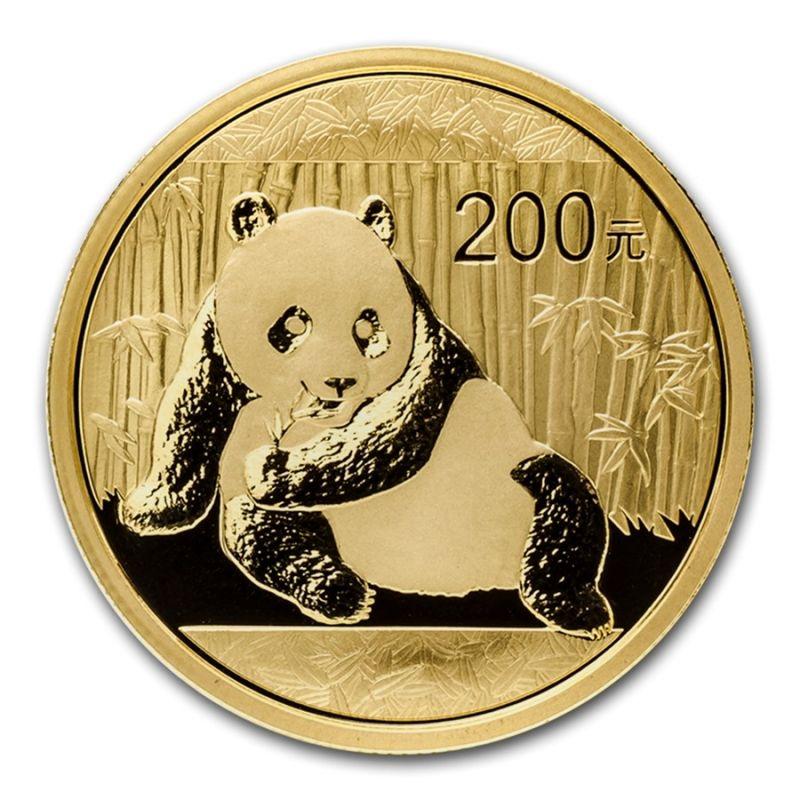 1/2 oz 2015 Chinese Panda 200元 Gold Coin 999 Obverse