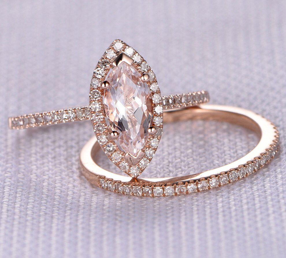 2pcs Wedding Ring Set Engagement Ring 14k Rose