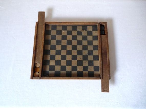 Antique french chess and checkers game Game of by myfrenchycottage