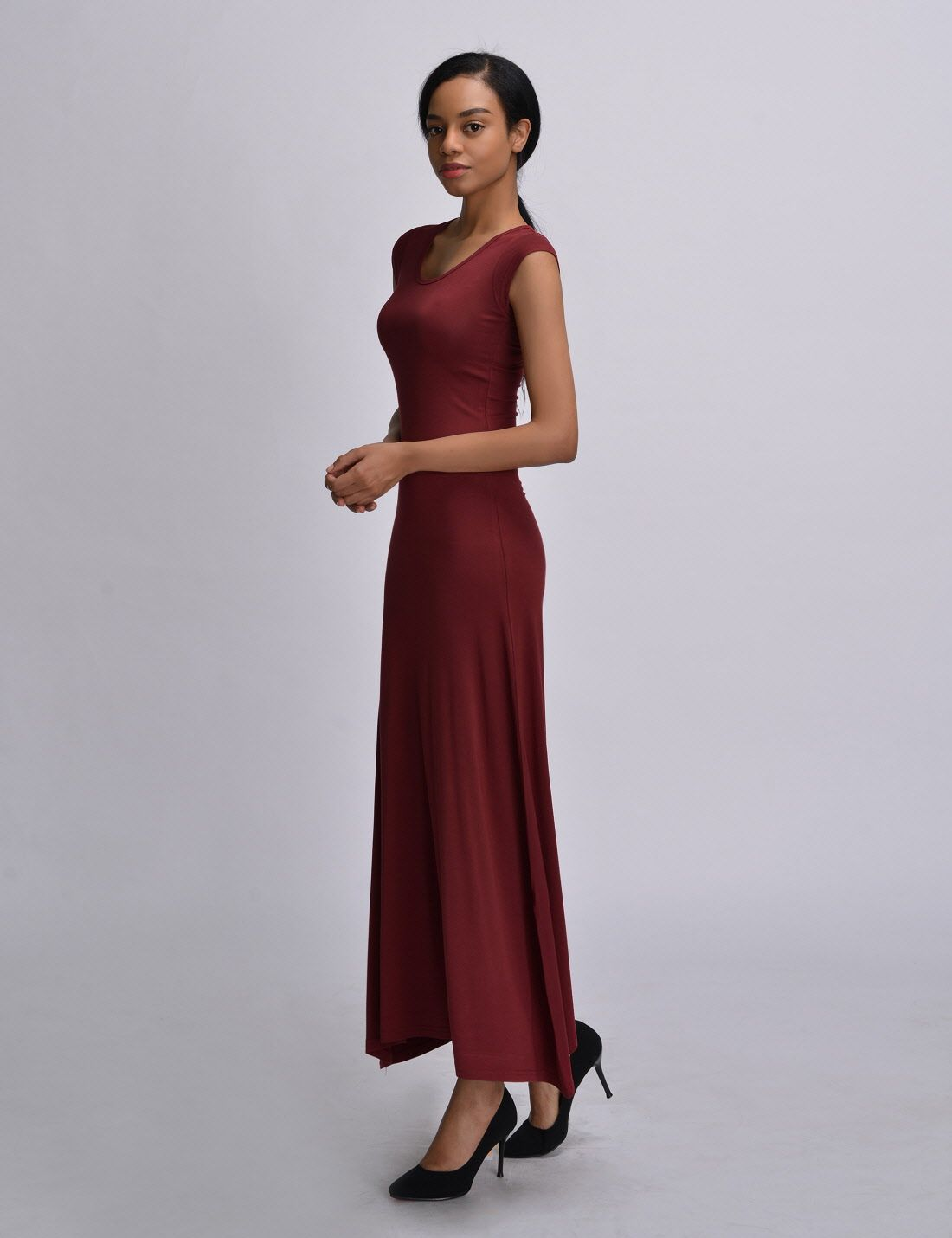 Wld04271 fitted soft stretchy cap sleeve casual one