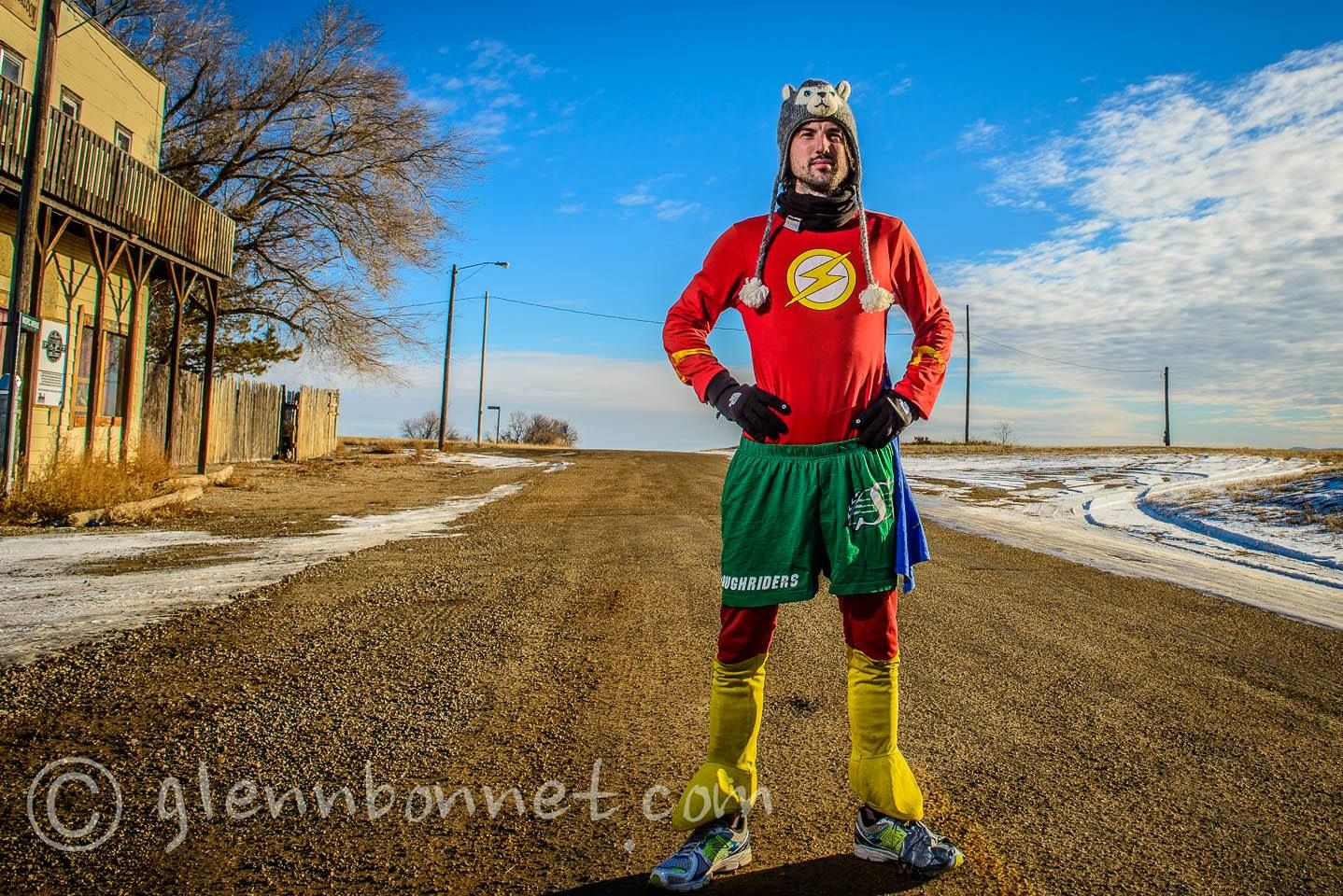 Comic book Superhero the Flash runs 5,000 miles - unsupported - across Canada