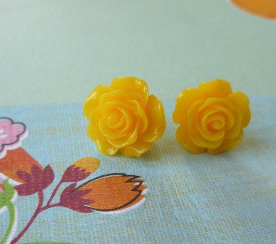 Beautiful Bloom Flower Post Earrings Sunny by Stephsjewels4ella, $5.00