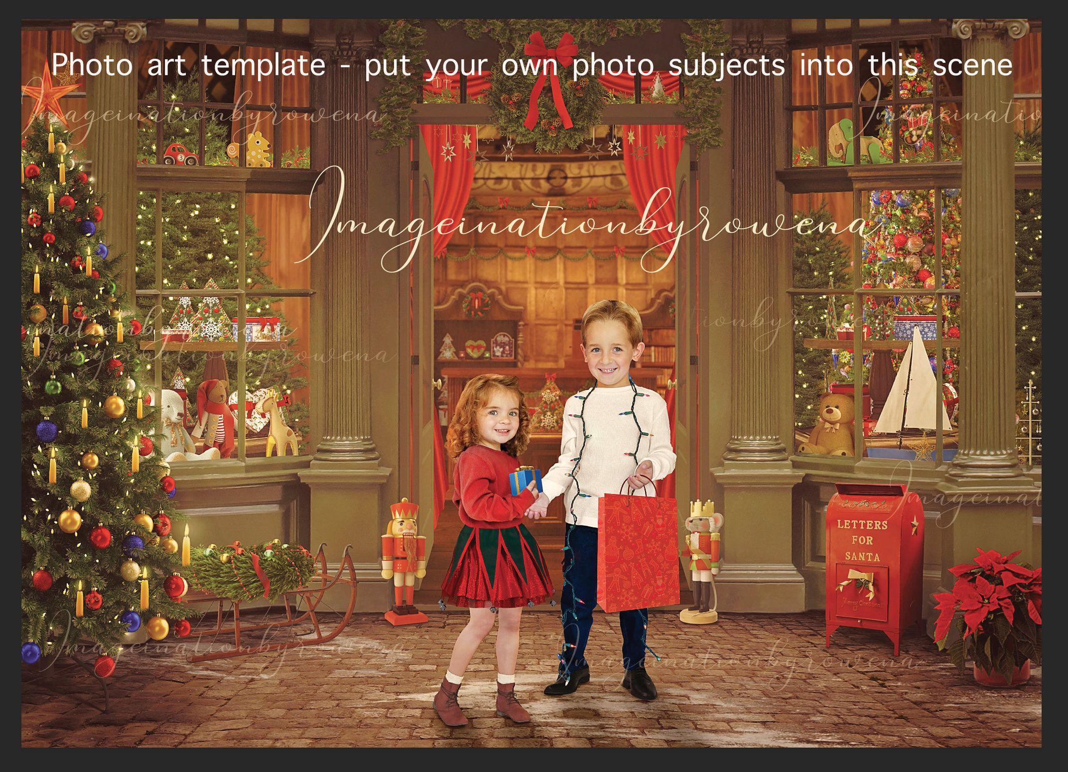 Vintage Christmas toy shop digital background template for ...