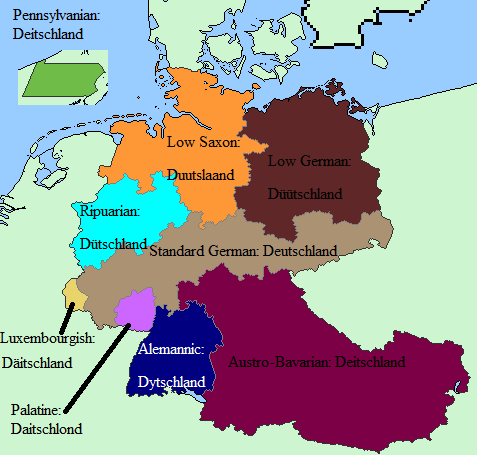 The Word For Germany In Various German Dialects Related What - Map 9f germany