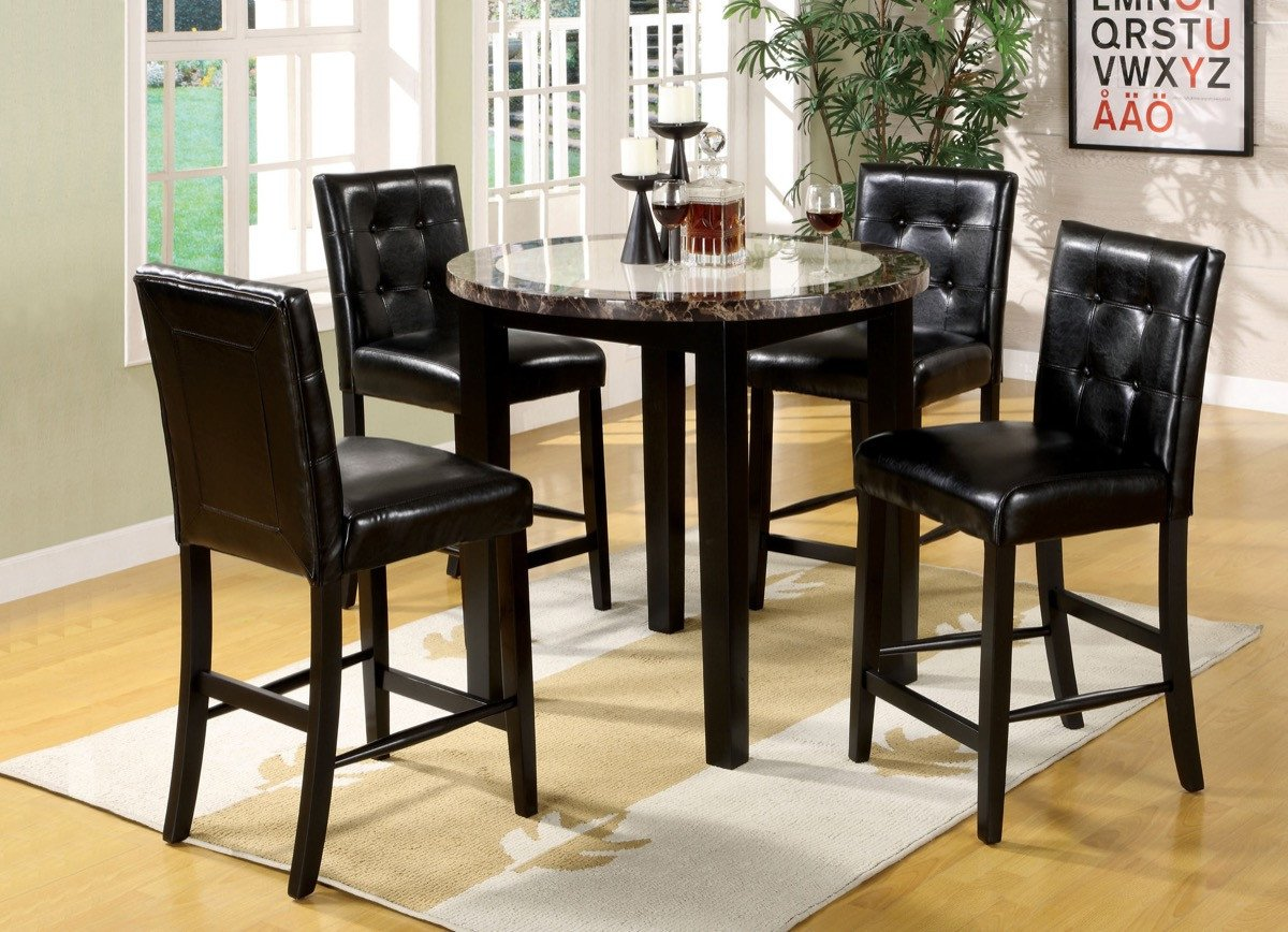 Furniture Of America Rubylynn Counter Height Leatherette Chair Acacia Black Base Counter Height Dining Table Set Round Dining Table Sets Counter Height Table