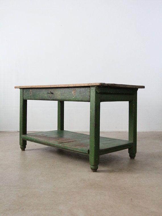 vintage work table   rustic painted wood table by 86home on etsy  1350 00 vintage work table   rustic painted wood table by 86home on etsy      rh   pinterest com