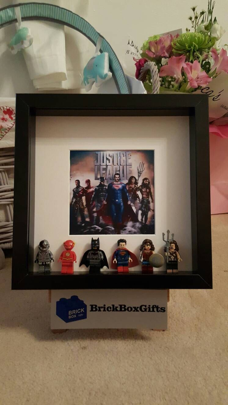 DC Justice League lego 3d frame six minifigures including superman ...