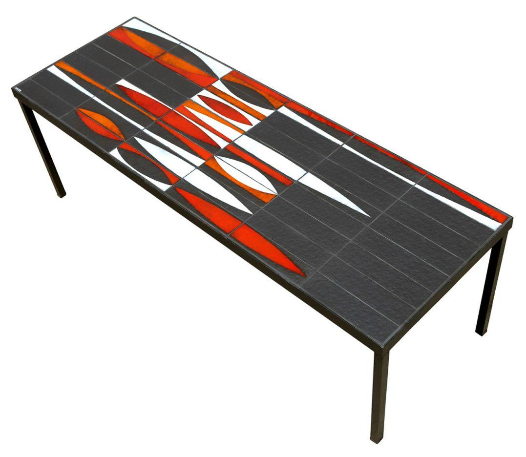 """Roger Capron """"Navette"""" tile table, 1960's. via Sam Kaufman"""