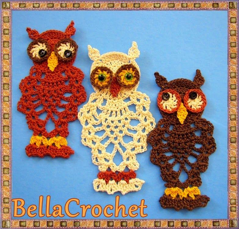 BellaCrochet: ornamento de búho de piña o marcador: un patrón de ...