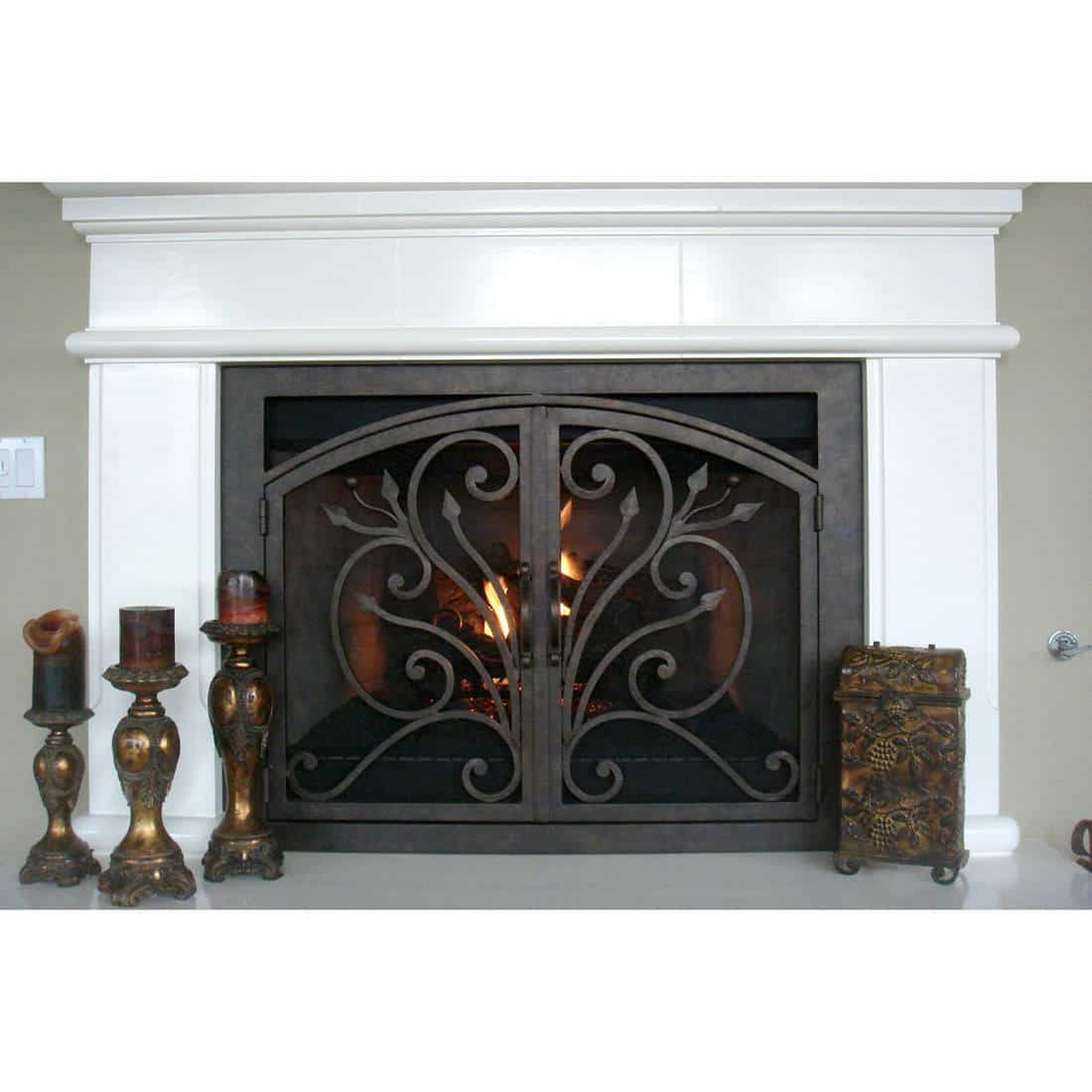 Orchid Arched Inside Rectangular Fireplace Door Fireplace Doors Fireplace French Fireplace