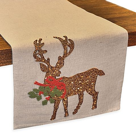 Rustic Burlap Stag Christmas Placemats