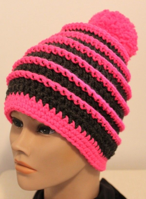 Kindermütze Damenmütze Häkeln Farbwechsel Crochet Knitting