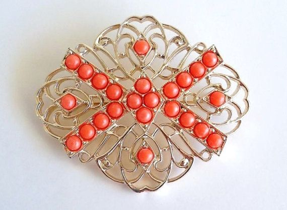 SARAH COVENTRY Tangerine Bead Brooch by SunshineSurprises on Etsy, $16.00