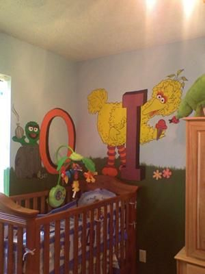 OSCAR AND BIG BIRD MURAL   SESAME STREET NURSERY THEME: Let Me Tell You That Part 90