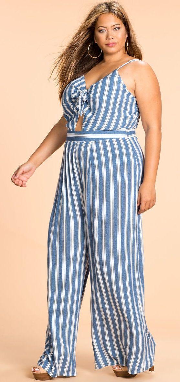 e32ac3c0fbb Plus Size Cut Out Stripe Jumpsuit