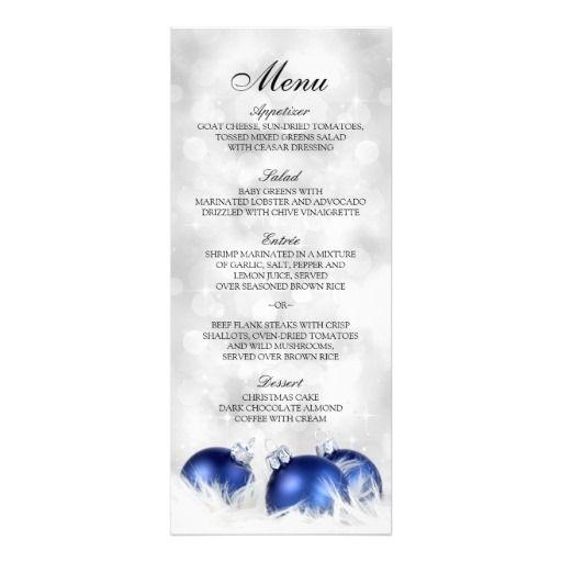 Christmas And Holiday Dinner Party Menu Template X Card