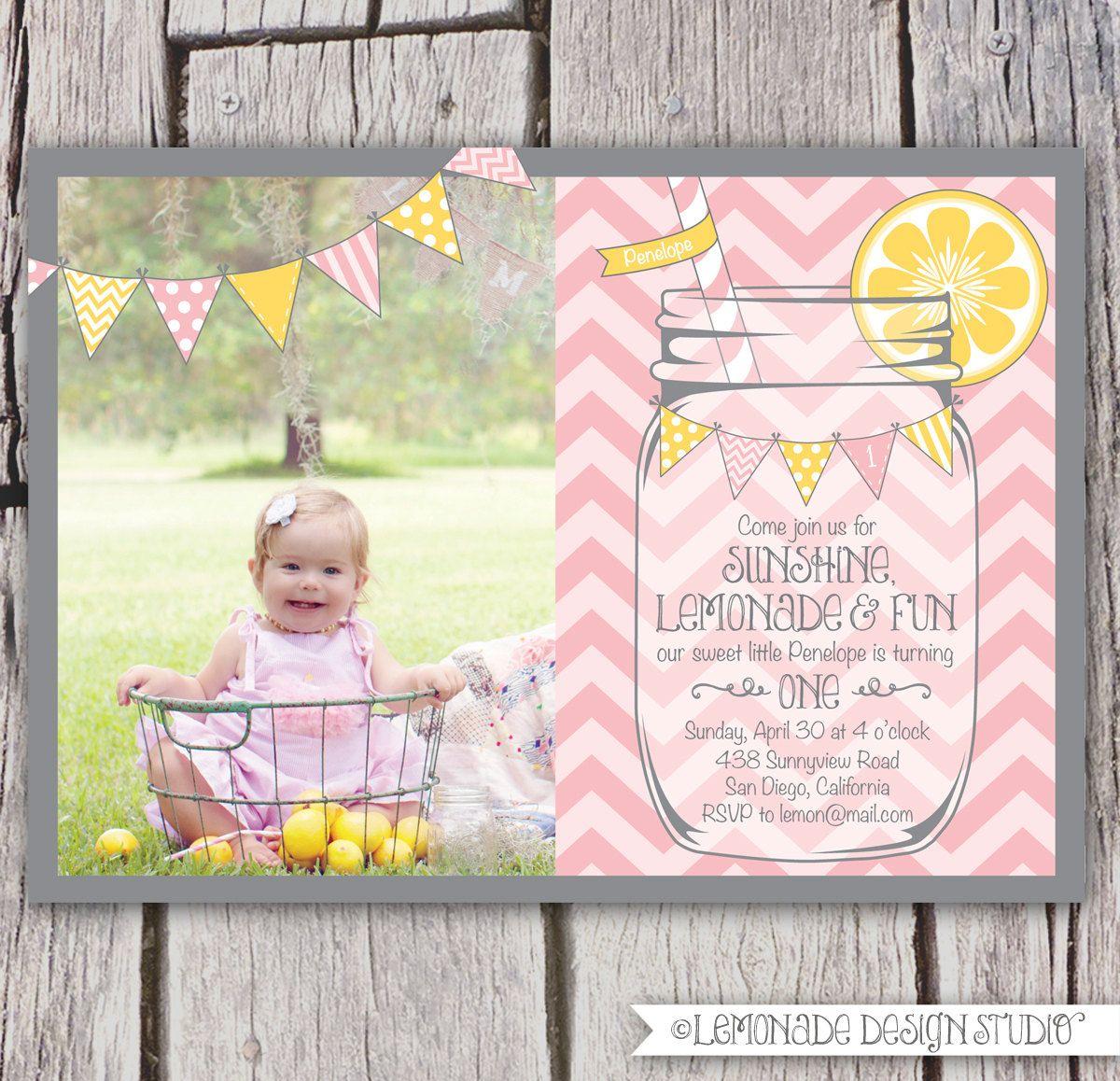 Girls First Birthday Lemonade Invitation - Mason Jar Chevron Bunting ...