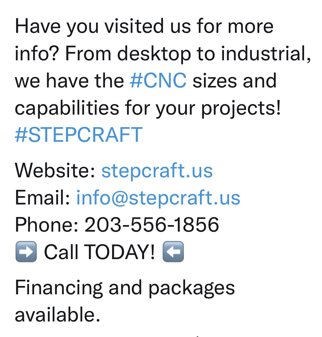CNCs for the size and capability of your  business!