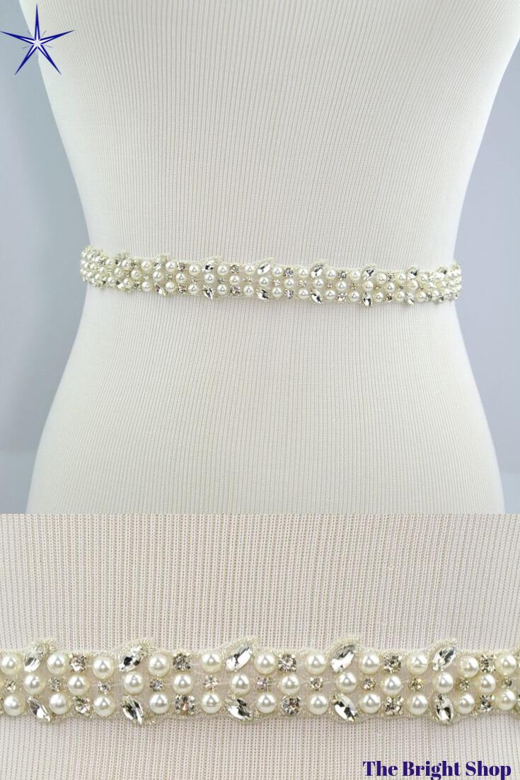 Clear Rhinestone Crystal Lace Trim 1 Wide For Bridal Accessories Wedding Dress Sash Belt Headband Straps Costume Embellishment 3 Colors