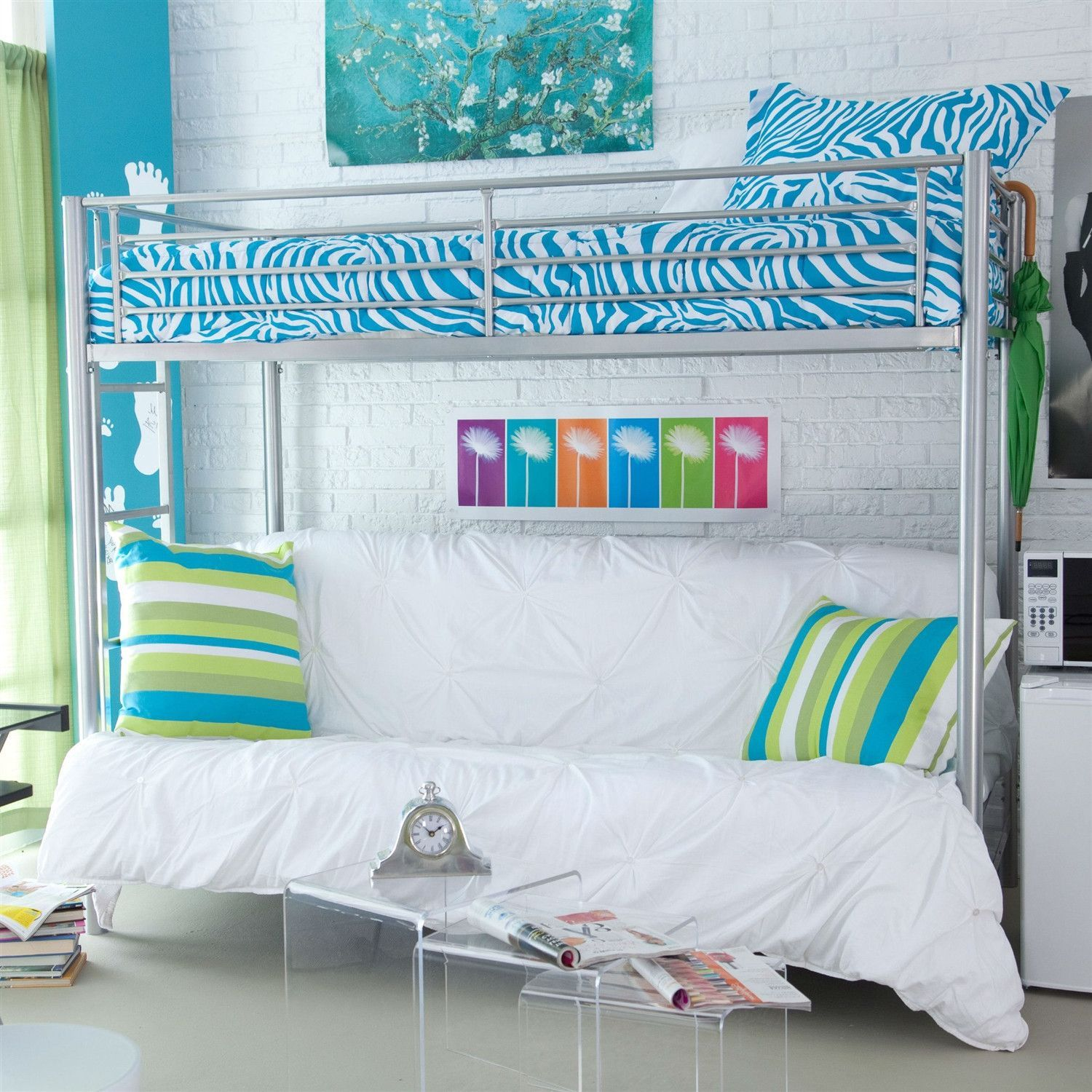 Twin bed loft bed  Twin over Full Size Futon Bunk Bed in Modern Silver Metal Finish