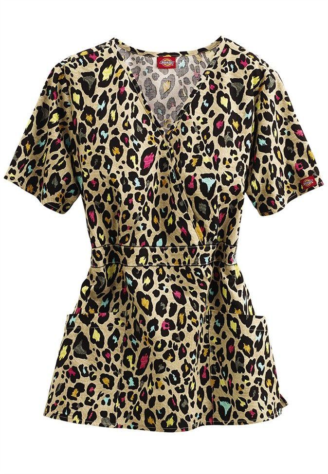 d6f176cb160 Dickies Leopard Fur-Ever crossover print scrub top. Main Image ...