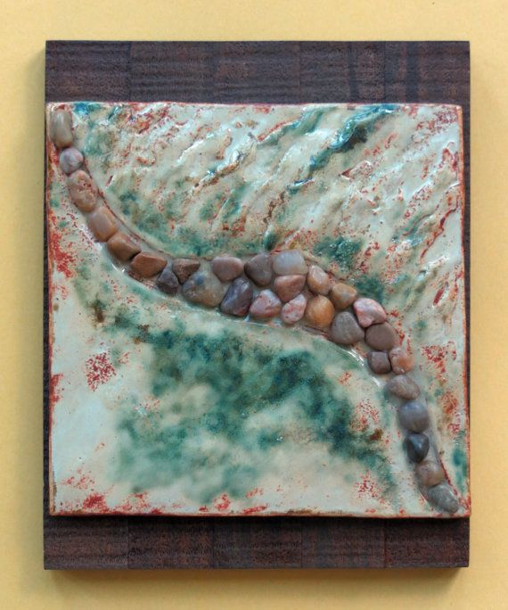 Decorative Tile Wall Art Earthy River Rock Ceramic Wall Hanging Organic Clay Pottery Wall