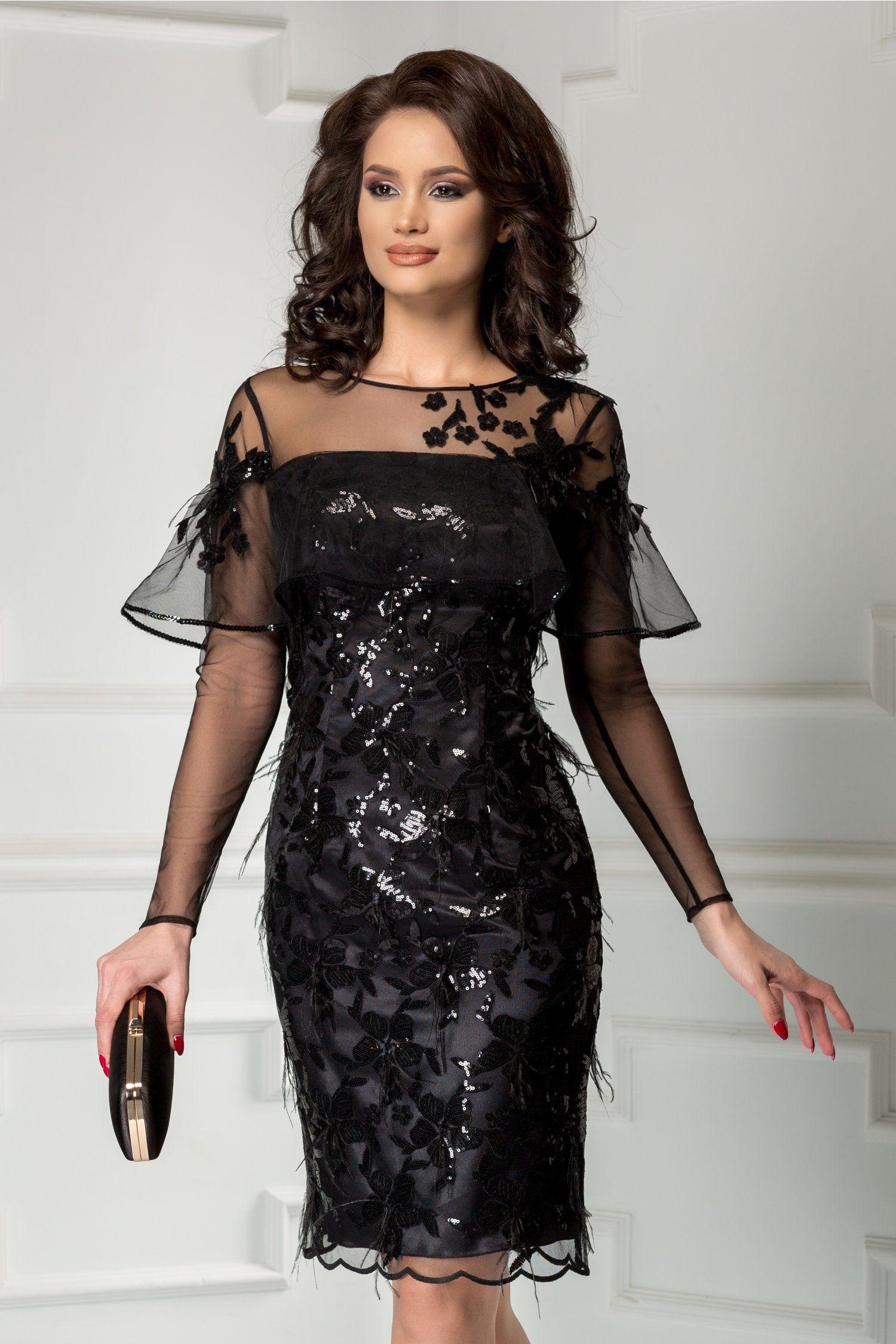 Rochie Leonard Collection neagra de seara din paiete cu pene ...