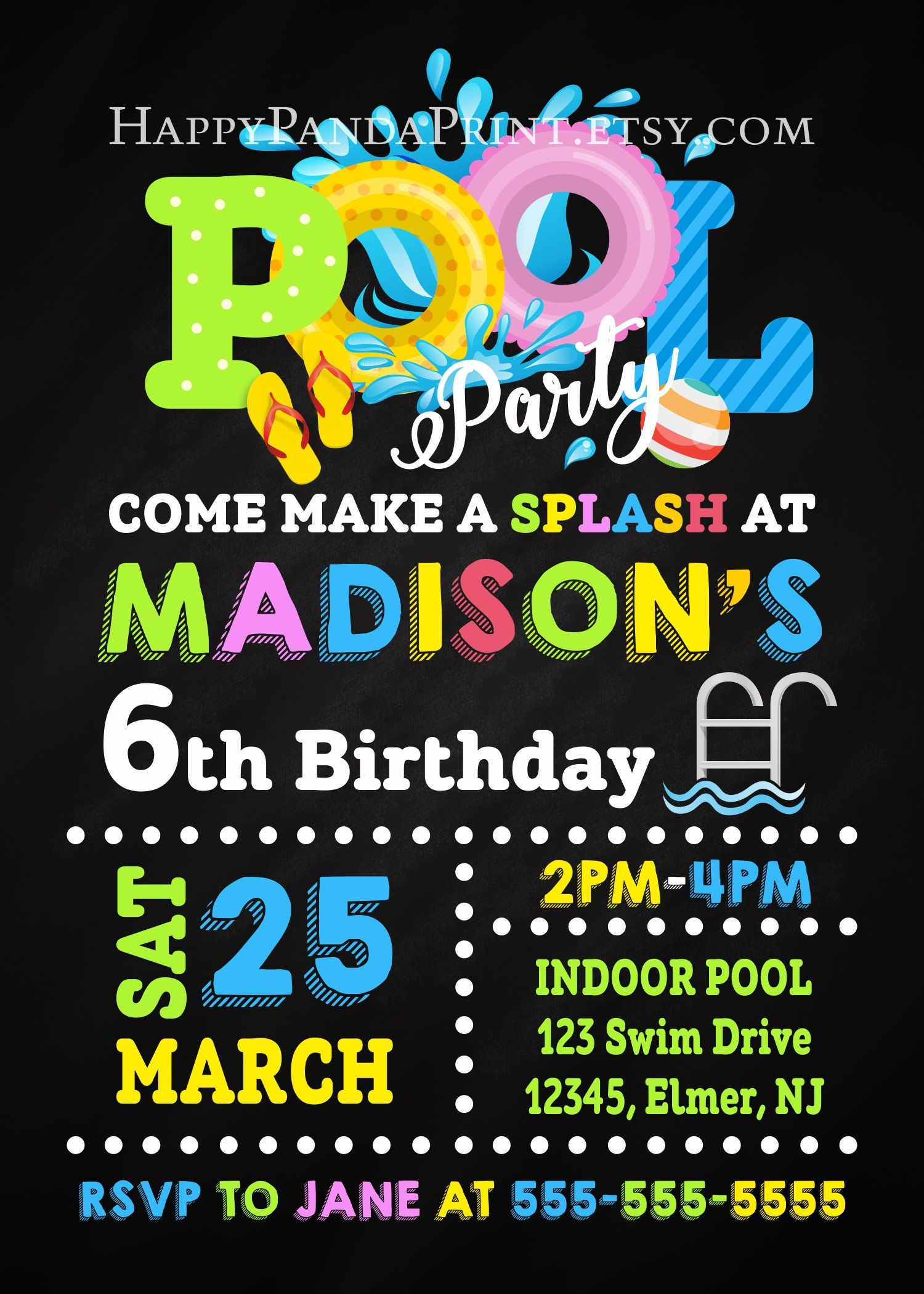 Pool Party Invitation Swimming Pool Birthday Party Chalkboard Pool Party Birthday Invitation